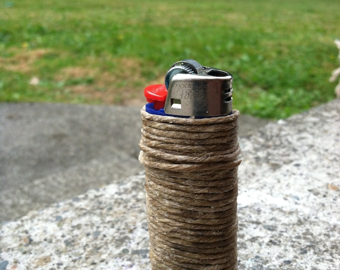 Lighter wrapped with beeswax hemp wick--no more butane fumes  :)