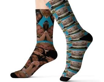 Yelling woman and cat socks