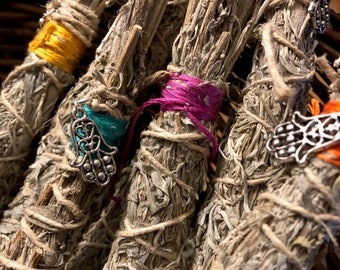 Smudge sticks of desert sage wrapped with hemp twine