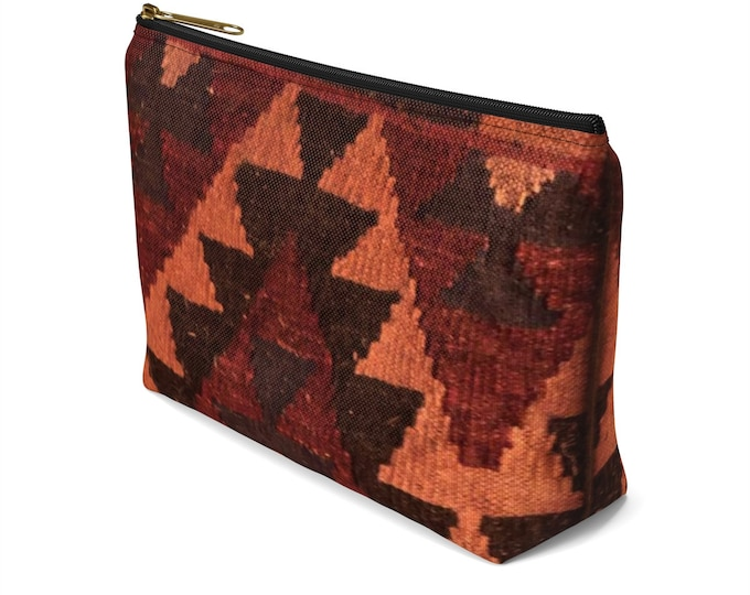 Afghan Kilim Style printed cosmetic pouch/makeup bag In two sizes