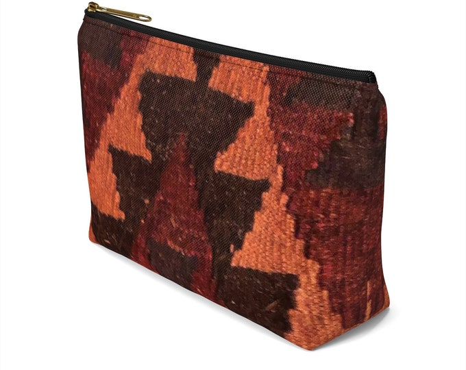 Afghan Kilim style printed accessory pouch/makeup bag in two sizes