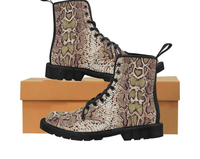 Men's Natural-Tone Faux-Snakeskin Canvas Boots (Vegan)