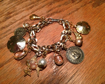 Reconstructed vintage charm bracelet fit for a mermaid