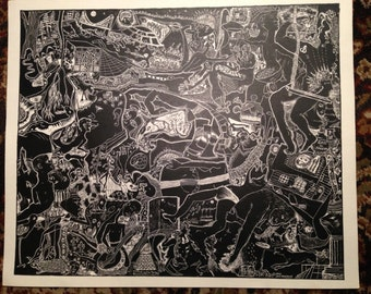 TRIPPY HIPPIE ART original scratchboard fantasy drawing 11 x 13 limited edition poster print