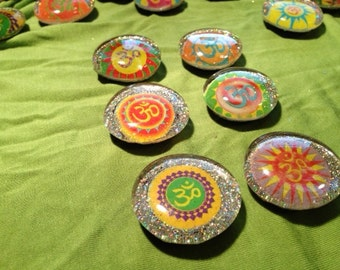 set of 6 Sparkly OM (Aum) magnets