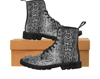 Men's Gray Faux-Snakeskin Canvas Boots (Vegan)