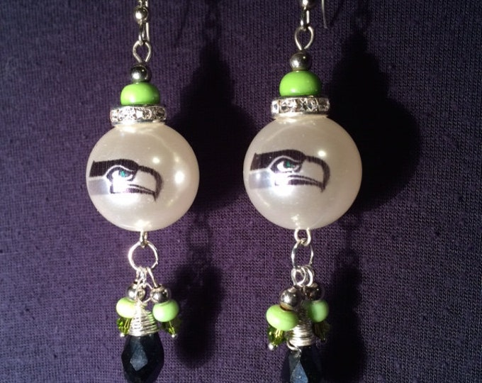 Elegant SEAHAWKS pearl and crystal earrings--unique design, lots of bling for holiday parties