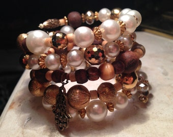 Fabulous Gypsy Bling memory wire bracelet with faux pearls, brass, crystals, bone and handmade wooden beads