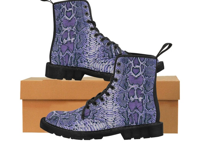 Men's PURPLE Faux-Snakeskin Canvas Boots