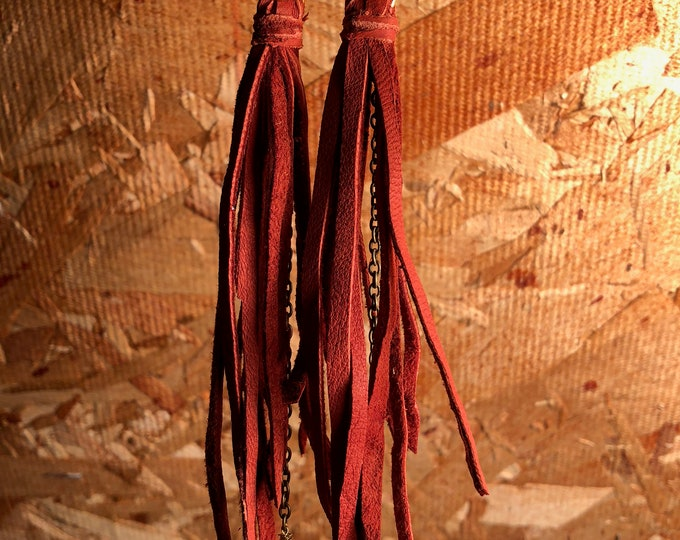 Long, supple suede tassel earrings with antique brass chain and crystal drops