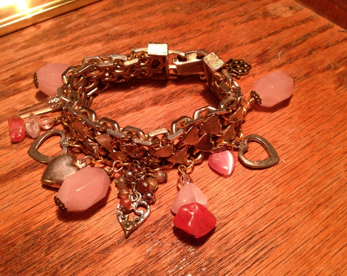 "Chunky brass/silver ""Sweetie Pie"" HEART charm bracelet--made w/vintage charms & gemstones"
