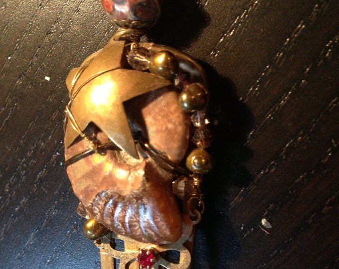 Assemblage pendant with vintage jewelry parts, Ammonite, Jasper, fresh water pearl & crystal