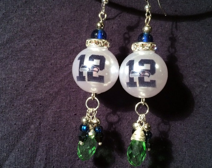 "Elegant SEAHAWKS-inspired ""12"" earrings--perfect for holiday parties--Hawk BLING w/pearls and crystals"