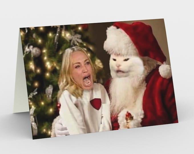 Woman yelling at Santa Cat holiday greeting card--set of three cards with envelopes