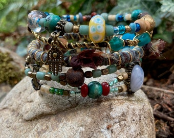 Rustic, tribal gypsy style beaded Bangle Stack in shades of blue