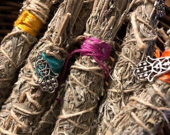 Smudge sticks of desert sage wrapped with hemp twine