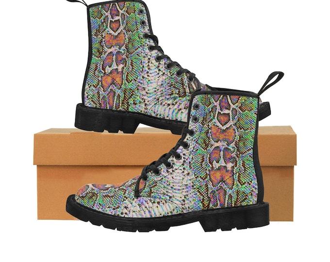 Men's Rainbow Faux-Snakeskin Canvas Boots (Vegan)