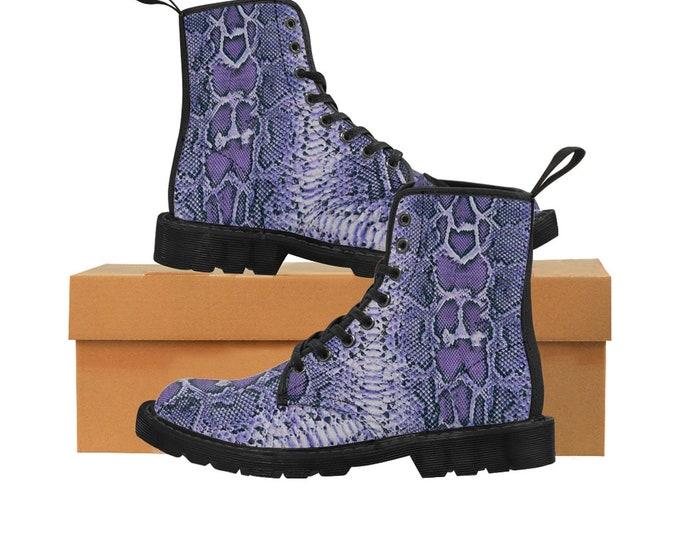 Men's PURPLE Faux-Snakeskin Canvas Boots