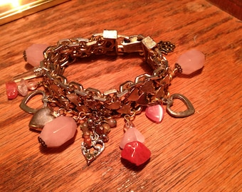 """VALENTINE'S GIFT special--Chunky brass/silver """"Sweetie Pie"""" HEART charm bracelet--made w/vintage charms & gemstones--free shipping!"""