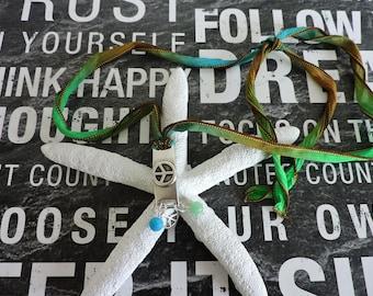 Silk Necklace, Charm Necklace, Peace Sign Pendant, Peace Sign Charm, Glass Beads, Long Necklace, Hippy, Boho