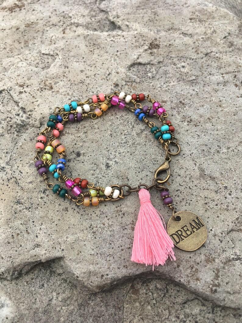 Czech beaded link Bracelet beaded bracelet Dream charm with tassel bracelet Hippie Bohemian triple Bracelet