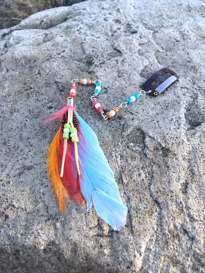 Hair Jewelry Bohemian Hair beads Hippie Hair Beads clip in Beaded Extension with colorful feathers Colorful Hair Deco clip