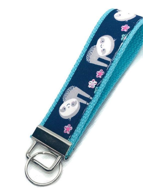 Turquoise Key Fob Hand Made  Wristlet// Sloths
