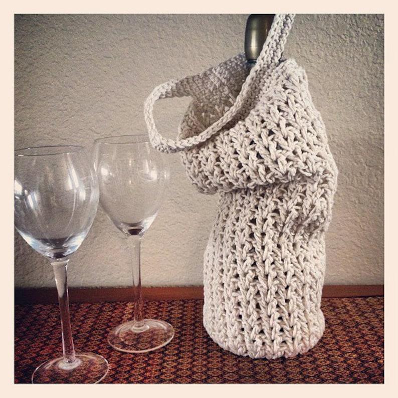 PDF Crochet Pattern  Market Tote Wine Skinny Fat Bag image 0