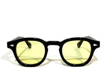 A handcrafted The Quality Mending Co. The Causeway Glasses - Black x Yellow