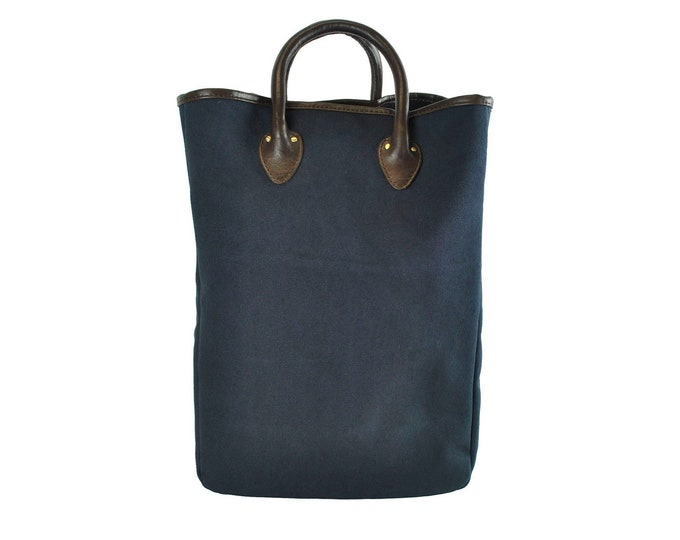 QMC Large Tote, Navy With Natural Vegetable Tanned Leather Trim