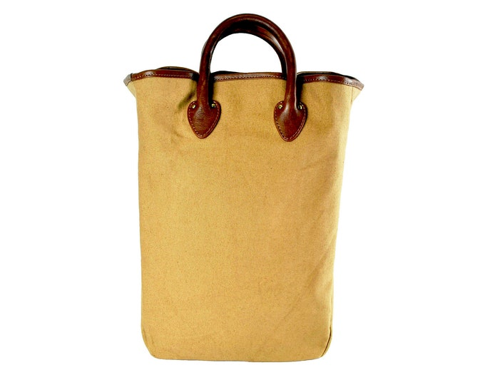 QMC Large Tote, Khaki With Natural Vegetable Tanned Leather Trim