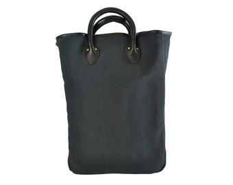 QMC Large Tote, Black With Natural Vegetable Tanned Leather Trim