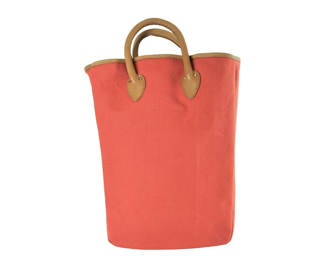 QMC Large Tote, Peach With Natural Vegetable Tanned Leather Trim
