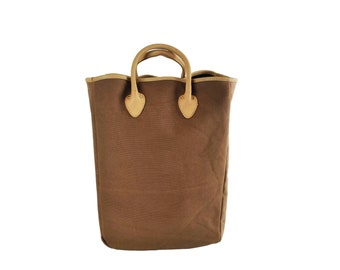QMC Large Tote, Brown With Natural Vegetable Tanned Leather Trim