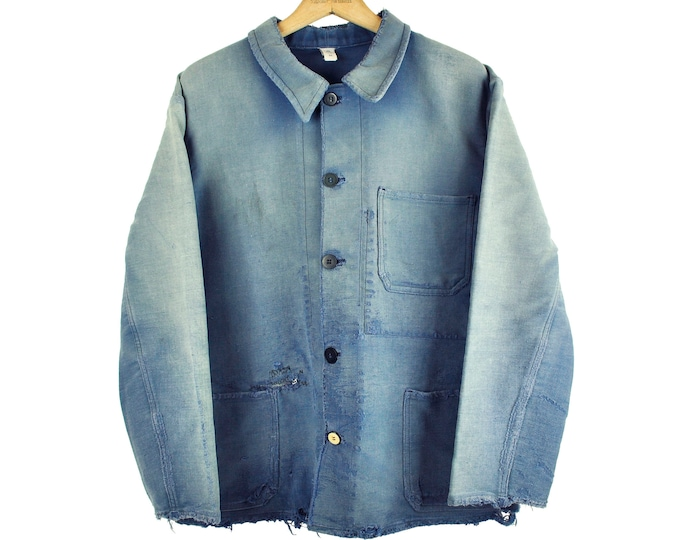 Indigo European Chore Jacket, Distressed Workwear, Moleskin, X-Large