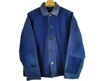 Indigo European Chore Jacket, Distressed Workwear, X-Large