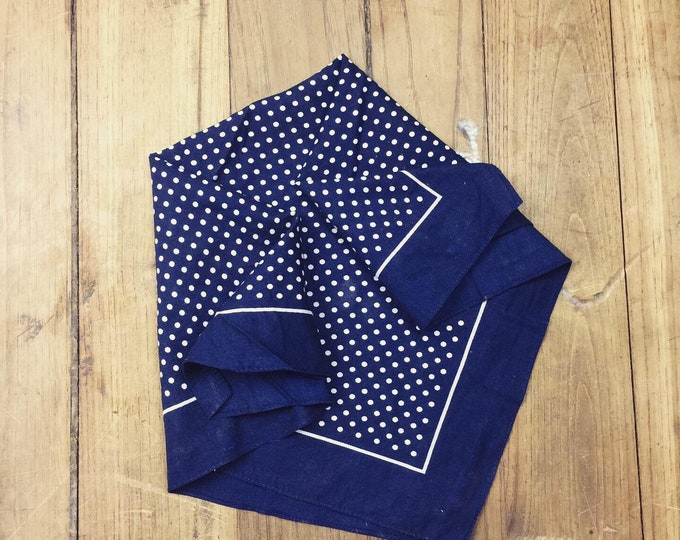 Small spotted Dutch dead stock bandana. Navy and white. Softened in a special wash process
