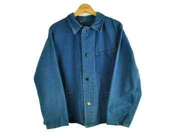 Indigo European Chore Jacket, Distressed Workwear, Large