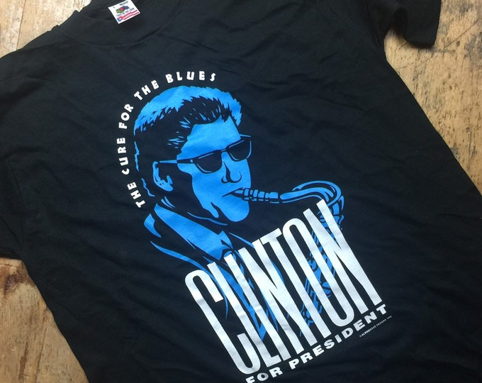Bill Clinton Democrat for president vintage tee vote. Large made in USA