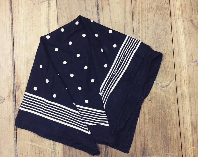Small spotted Dutch dead stock bandana. Black  and white, Large spots. Softened in a special wash process