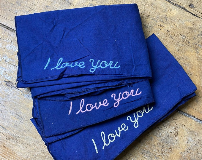 I Love You vintage Bandana. Chain stitch embroidered. Large size 26 inches  broad