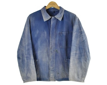 Indigo European Chore Jacket, Distressed Workwear, Herringbone, Medium