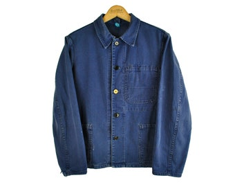 Indigo European Chore Jacket, Distressed Workwear, Herringbone, Small