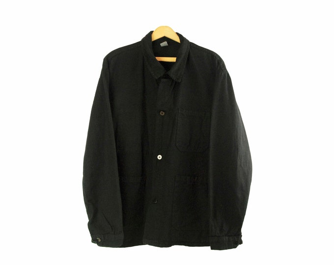 European Chore Jacket, Dyed Black, Oversized, Size X-Large, All Cotton. 1960's