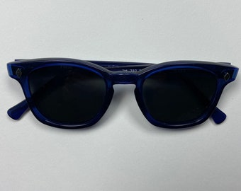 Custom Sunglasses, Blue frame and gray lens, American made