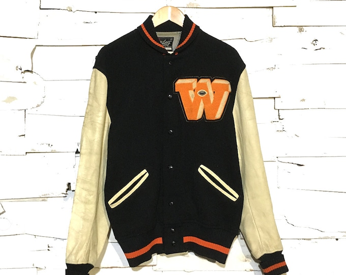 "Vintage Black Wool & Leather ""W"" Varsity Jacket Made in USA - Medium (VA-02)"