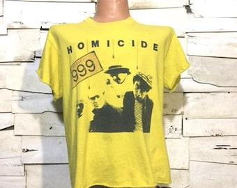 Vintage 999 Homicide 1978 British Punk Rock  Distressed T-Shirt (ps-ts-12)