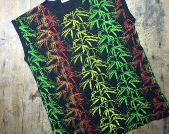 Marijuana vintage all over print muscle  shirt. Made in UK. Size XL.