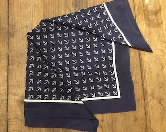 Vintage European Old Stock / Dead Stock Blue and White Anchor Bandana. Soft to the touch.