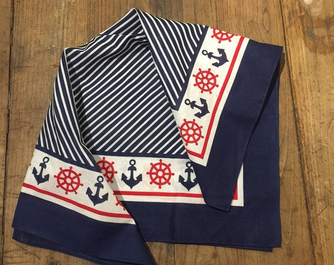 Vintage Old Stock/ Dead Stock Blue White and Red Anchor Bandana